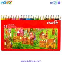مداد رنگی36 رنگ جعبه فلزی اونرowner