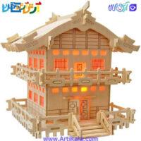 تصویر پازل 3 بعدی چوبی خانه ژاپنی