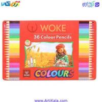 مداد رنگی 36 رنگ جعبه فلزی وکWOKE