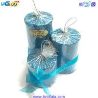تصویر شمع 3 عددی اکلیکی استوانه ای آبی