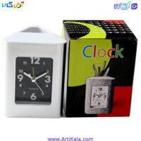 تصویر جاقلمی رومیزی ساعت دار