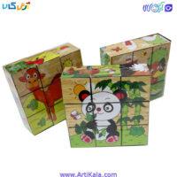پازل مکعبی 9 قطعه چوبی حیوانات