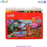 تصویر مداد رنگی 24 رنگ جعبه فلزی | owner