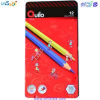 تصویر مداد رنگی 12 رنگ جعبه فلزی کوییلو | quilo
