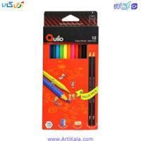 تصویر مداد رنگی 12 رنگ جعبه مقوایی Quilo