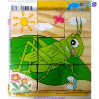 پازل شش وجهی چوبی 9 قطعه وارداتی طرح حشرات