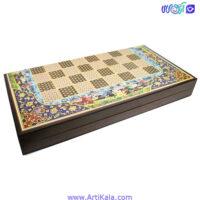 تصویر تخته نرد و شطرنج طرح خاتم عباسی