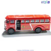 تصویر ماشین فلزی مدل اتوبوس آتش نشان